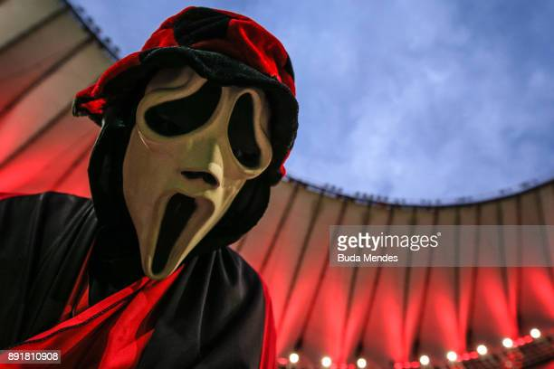 A fan of Flamengo vibrates before the second leg of the Copa Sudamericana 2017 final between Flamengo and Independiente at Maracana stadium on...