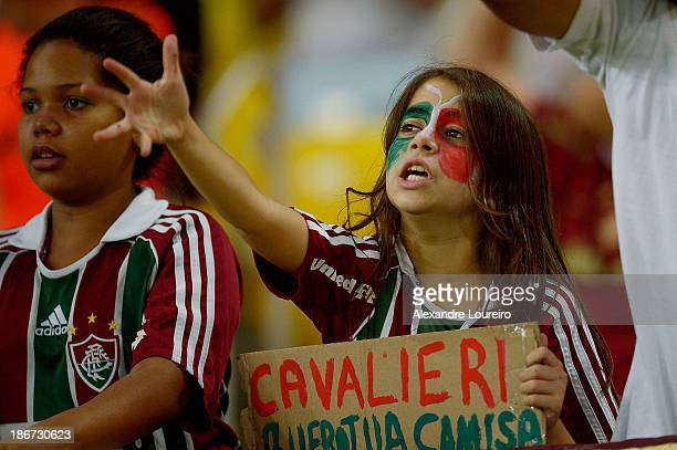 A fan of Fluminense shows support during the match between Flamengo and Fluminense for the Brazilian Series A 2013 at Maracana on November 3 2013 in...