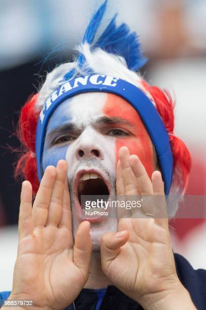 Fan of France celebrates during the 2018 FIFA World Cup Russia Round of 16 match between France and Argentina at Kazan Arena on June 30 2018 in Kazan...