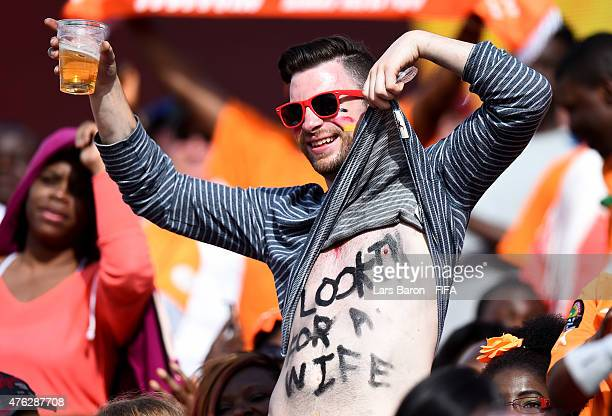 A fan of Germany is seen during the FIFA Women's World Cup 2015 Group B match between Germany and Cote D'Ivoire at Lansdowne Stadium on June 7 2015...