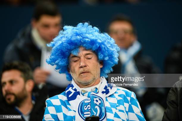 A fan of Granville during the French Cup Soccer match between US Granville and Olympique de Marseille at Stade Michel D'Ornano on January 17 2020 in...