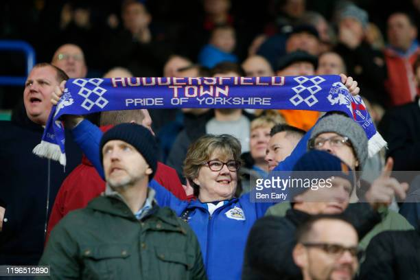 Fan of Huddersfield Town celebrates the goal scored by Jon Gorenc Stankovic of Huddersfield Town during the Sky Bet Championship match between...