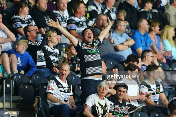 A fan of Hull FC reacts during the BetFred Super League match between Hull FC and Leeds Rhinos at the KCOM Stadium on April 19 2018 in Hull England