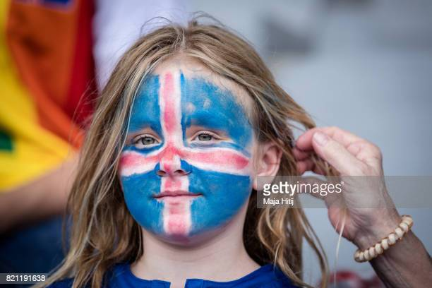 Fan of Iceland looks on prior the UEFA Women's Euro 2017 Group C match between Iceland and Switzerland at Stadion De Vijverberg on July 22 2017 in...