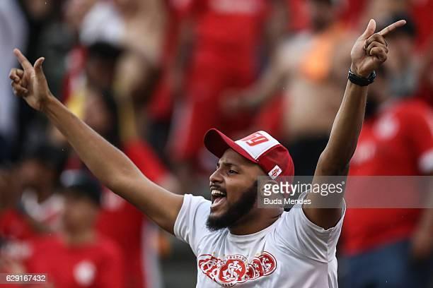 A fan of Internacional gestures during a match between Fluminense and Internacional as part of Brasileirao Series A 2016 at Giulite Coutinho Stadium...
