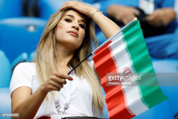 A fan of IR Iran is seen during the 2018 FIFA World Cup Russia Group B match between Morocco and IR Iran at the Saint Petersburg Stadium in St...