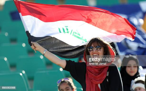 fan of Iraq looks on during the FIFA World Cup Russia Asian Final Qualifier match between Iraq and Japan at PAS Stadium on June 13 2017 in Tehran Iran