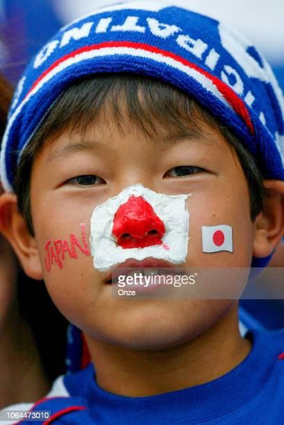 Fan of Japan during the World Cup match between Japan and Belgium in Saitama Stadium in Saitama Japan on June 4th 2002
