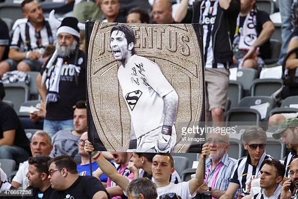 fan of Juventus FC with banner goalkeeper Gianluigi Buffon of Juventus FC during the UEFA Champions League final match between Barcelona and Juventus...