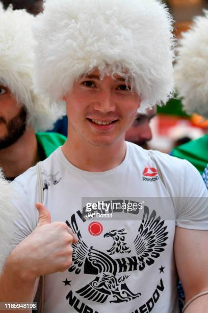 A fan of Khabib Nurmagomedov of Russia waits for his arrival during the UFC 242 Open Workouts at Yas Mall on September 4 2019 in Abu Dhabi United...