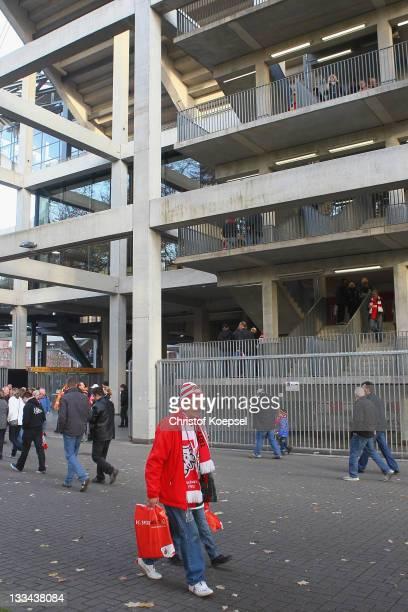 A fan of Koeln leaves the RheinEnergieStadion on November 19 2011 in Cologne Germany The Bundesliga match beween 1 FC Koeln and Mainz 05 that Rafati...