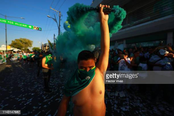 Fan of Leon cheers prior the quarterfinals second leg match between Leon and Tijuana as part of the Torneo Clausura 2019 Liga MX at Leon Stadium on...