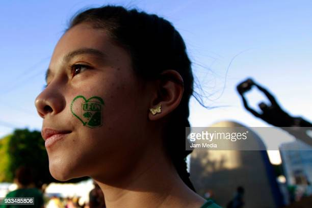 Fan of Leon looks on prior the 12th round match between Leon and Lobos BUAP as part of the Torneo Clausura 2018 Liga MX at Leon Stadium on March 17...