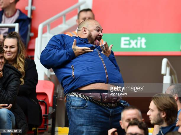 A Fan of Liverpool during the Premier League match between Liverpool FC and West Ham United at Anfield on August 12 2018 in Liverpool United Kingdom