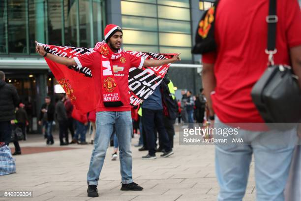 A fan of Manchester United prior to the UEFA Champions League match between Manchester United and FC Basel at Old Trafford on September 12 2017 in...