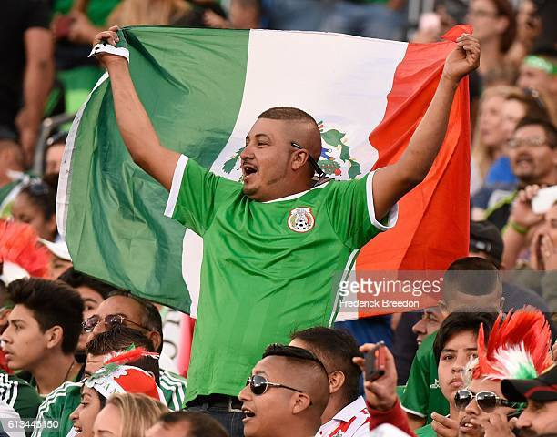 A fan of Mexico celebrates after a 21 victory over New Zealand in front of 40287 fans at Nissan Stadium on October 8 2016 in Nashville Tennessee