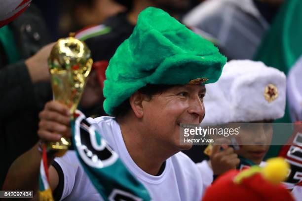 A fan of Mexico celebrates his team's victory after the match between Mexico and Panama as part of the FIFA 2018 World Cup Qualifiers at Estadio...