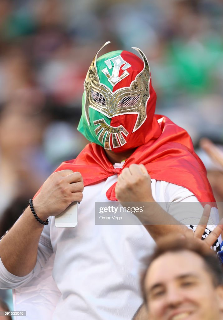 A fan of Mexico cheers for his team prior to the friendly match between the Republic of Ireland and Mexico at MetLife Stadium on June 01, 2017 in East Rutherford, NJ.