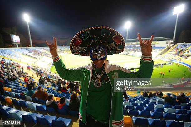 A fan of Mexico enjoys the atmosphere prior the 2015 Copa America Chile Group A match between Mexico and Bolivia at Sausalito Stadium on June 12 2015...