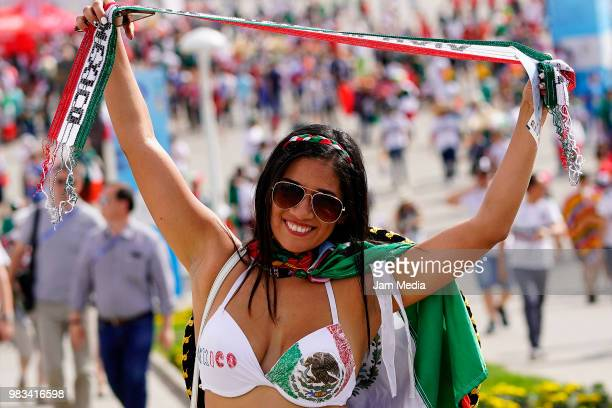 A fan of Mexico enjoys the atmosphere prior to the 2018 FIFA World Cup Russia group F match between Korea Republic and Mexico at Rostov Arena on June...