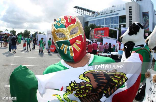 A fan of Mexico enjoys the atmosphere prior to the friendly match between Mexico and Ghana at NRG Stadium on June 28 2017 in Houston Texas