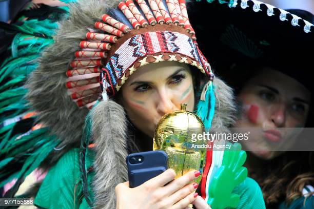 A fan of Mexico is seen during the 2018 FIFA World Cup Russia Group F match between Germany and Mexico at the Luzhniki Stadium Moscow in Moscow...