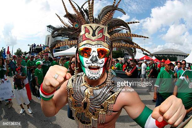 A fan of Mexico poses before a group C match between Mexico and Venezuela at NRG Stadium as part of Copa America Centenario US 2016 on June 13 2016...