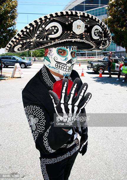 A fan of Mexico poses for a picture before the international friendly match between Mexico and Paraguay in Giorgia Dome on May 28 2016 in Atlanta...