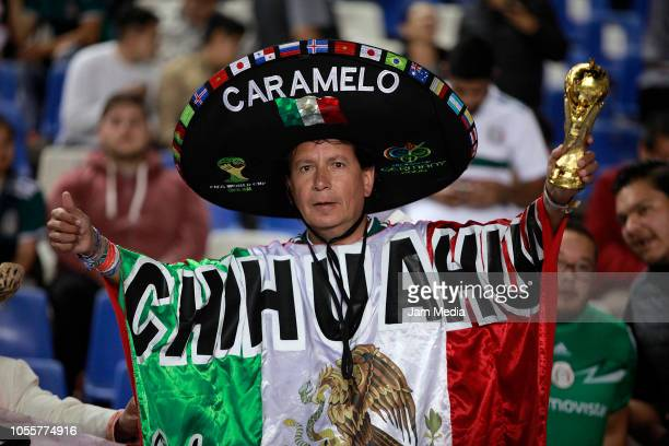 A fan of Mexico poses prior the international friendly match between Mexico and Chile at La Corregidora Stadium on October 16 2018 in Queretaro Mexico