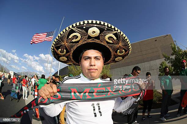 A fan of Mexico shows his scarf during a friendly match between Mexico and Trinidad and Tobago at Rio Tinto Stadium on September 04 2015 in Sandy Utah