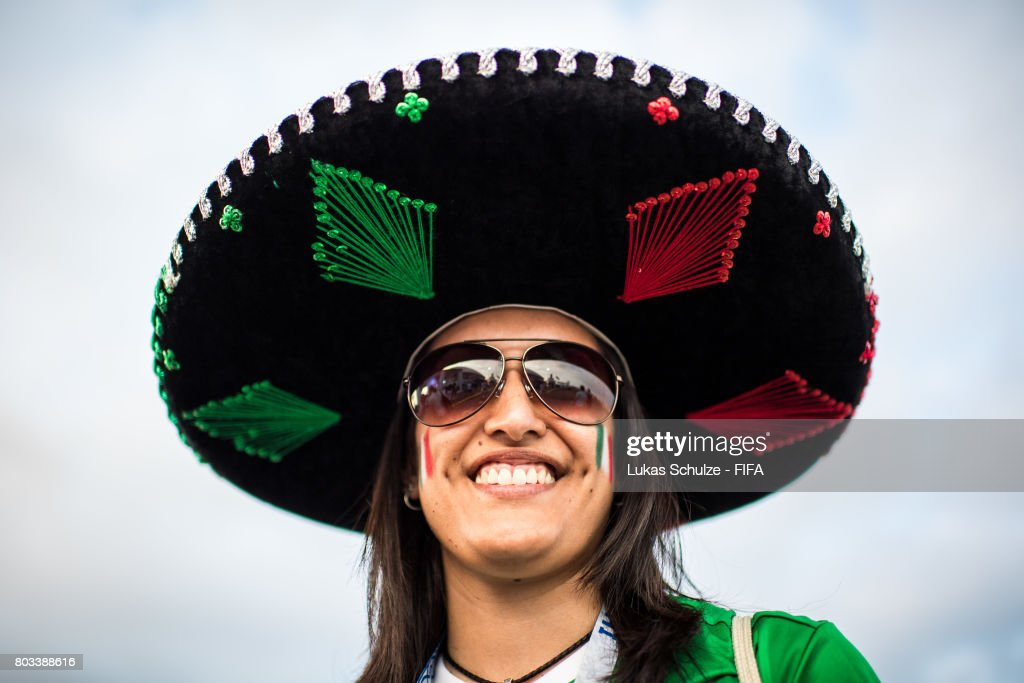 A fan of Mexico smiles prior to the FIFA Confederations Cup Russia 2017 Semi-Final match between Germany and Mexico at Fisht Olympic Stadium on June 29, 2017 in Sochi, Russia.