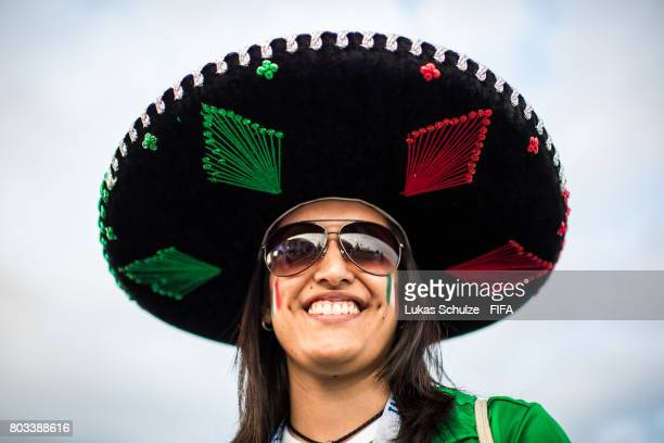 A fan of Mexico smiles prior to the FIFA Confederations Cup Russia 2017 SemiFinal match between Germany and Mexico at Fisht Olympic Stadium on June...