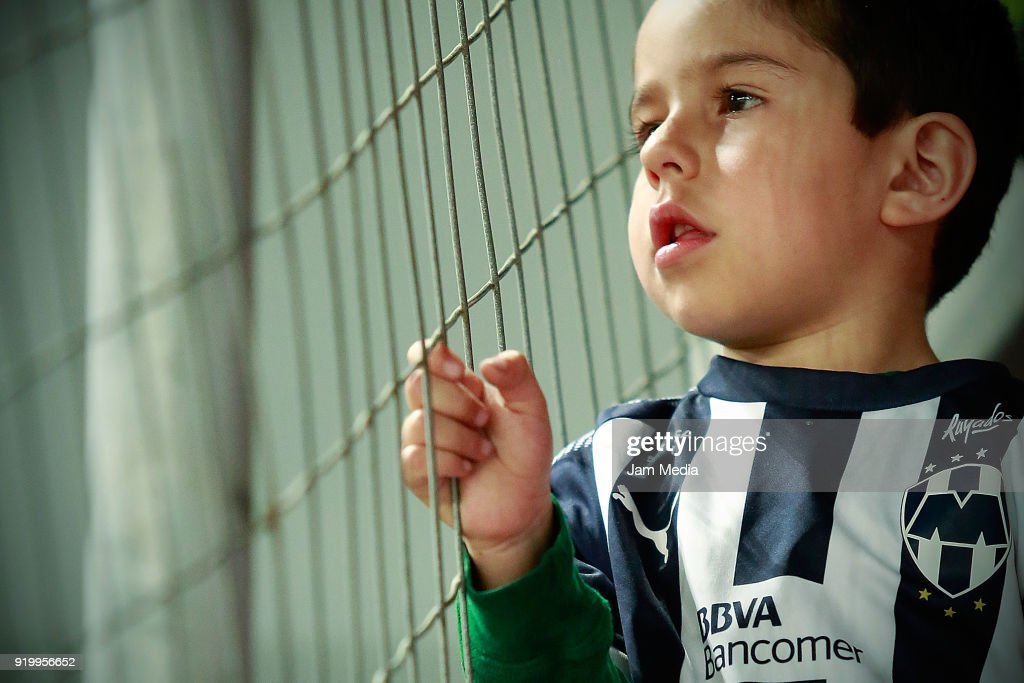A fan of Monterrey looks on during the 8th round match between Necaxa and Monterrey as part of the Torneo Clausura 2018 Liga MX at Victoria Stadium on February 17, 2018 in Aguascalientes, Mexico.