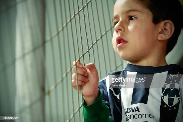 A fan of Monterrey looks on during the 8th round match between Necaxa and Monterrey as part of the Torneo Clausura 2018 Liga MX at Victoria Stadium...