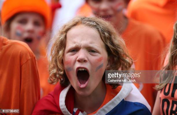A fan of Netherlands cheers on her team during the UEFA Women's Euro 2017 Group A match between Netherlands and Norway at Stadion Galgenwaard on July...
