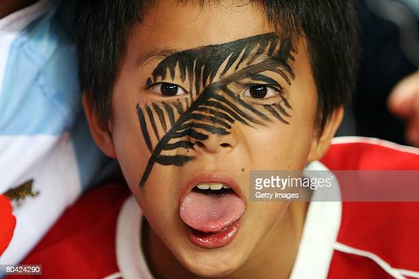 A fan of New Zealand poses during the Hong Kong Rugby Sevens 2008 match between New Zealand and United States on March 29 in Hong Kong China