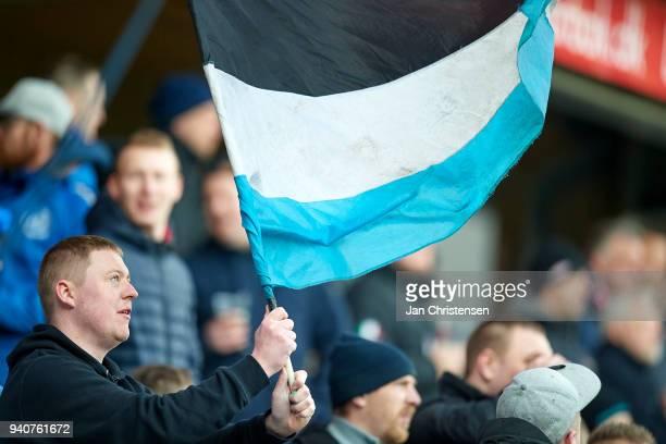 Fan of Randers FC during the Danish Alka Superliga match between Randers FC and Lyngby BK at BioNutria Park Randers on April 01 2018 in Randers...