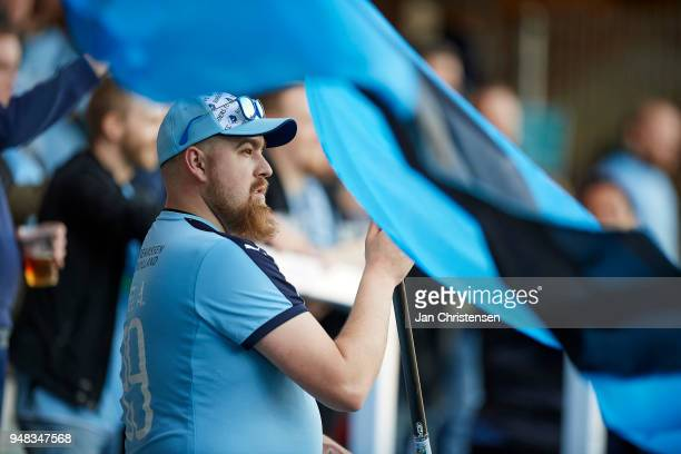 Fan of Randers FC looks on during the Danish Alka Superliga match between Randers FC and OB Odense at BioNutria Park Randers on April 18 2018 in...