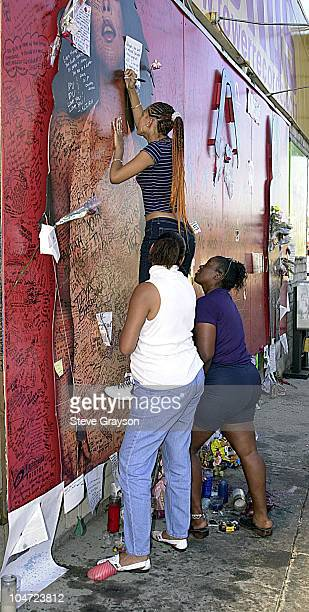 A fan of RB singer/actress Aaliyah gets a lift from friends to sign a record store mural of the late singer in what has become a shrine dedicated to...
