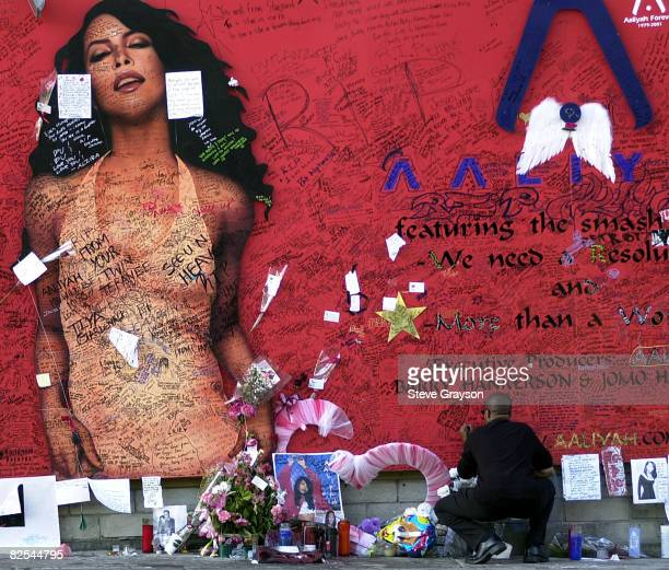 A fan of RB singer/actress Aaliyah looks on at a record store mural of the late singer in what has become a shrine dedicated to her after her death...