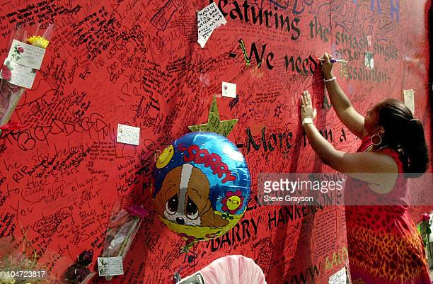 A fan of RB singer/actress Aaliyah signs a record store mural of the late singer in what has become a shrine dedicated to her after her death in a...