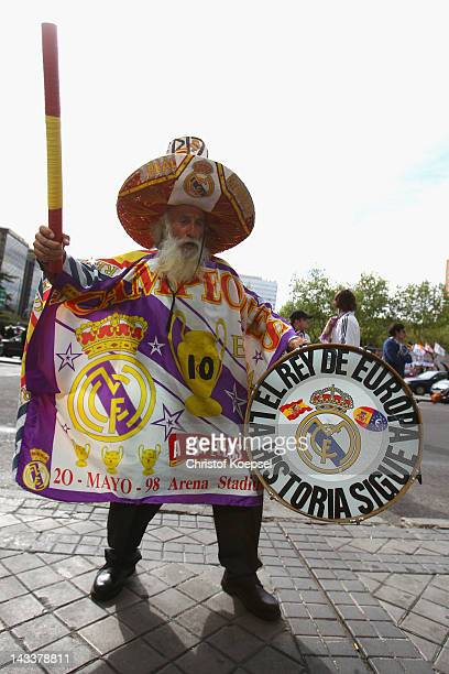 A fan of Real Madrid celebrates prior to the UEFA Champions League semi final second leg match between Real Madrid and Bayern Muenchen at Bernabeu...