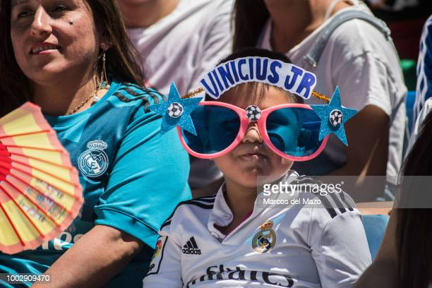 Fan of Real Madrid's new Brazilian forward Vinicius during the official presentation in Santiago Bernabeu Stadium