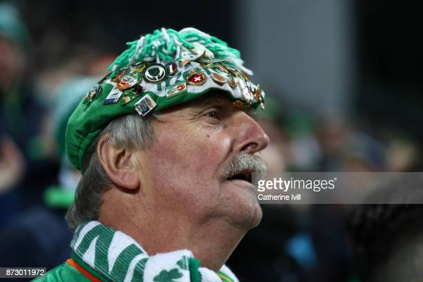 Fan of Republic of Ireland during the FIFA 2018 World Cup Qualifier PlayOff First Leg between Denmark and Republic of Ireland at Telia Parken on...