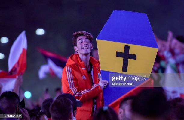 Fan of River Plate celebrates after winning the second leg of the final match of Copa CONMEBOL Libertadores 2018 between River Plate and Boca Juniors...