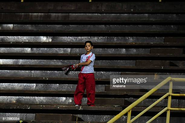A fan of River Plate cheers for his team during a group stage match between Trujillanos and River Plate as part of Copa Bridgestone Libertadores 2016...