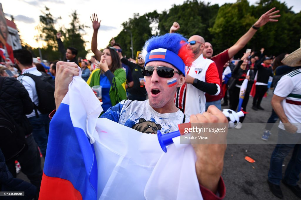 Fan of Russia celebrates after the fifth goal of his team during the 2018 FIFA World Cup Russia group A match between Russia and Saudi Arabia at FIFA Fans Fest Moscow on June 14, 2018 in Moscow, Russia.