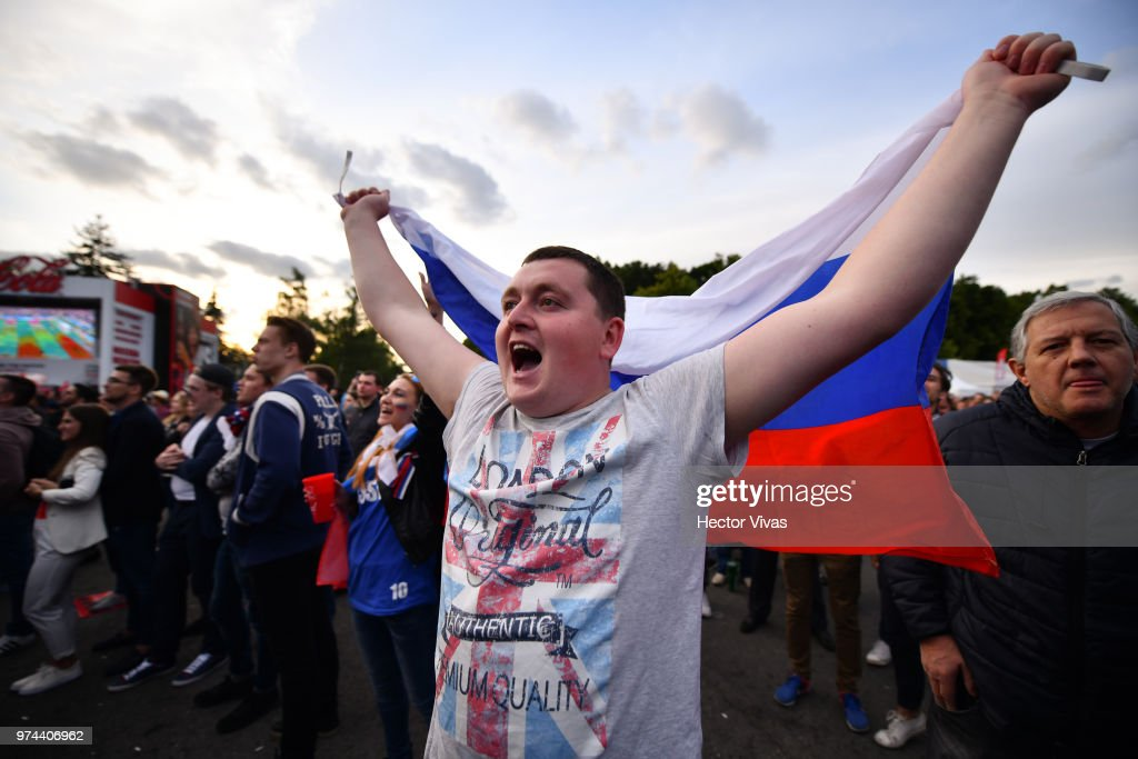 Fan of Russia celebrates after the fourth goal of his team during the 2018 FIFA World Cup Russia group A match between Russia and Saudi Arabia at FIFA Fans Fest Moscow on June 14, 2018 in Moscow, Russia.