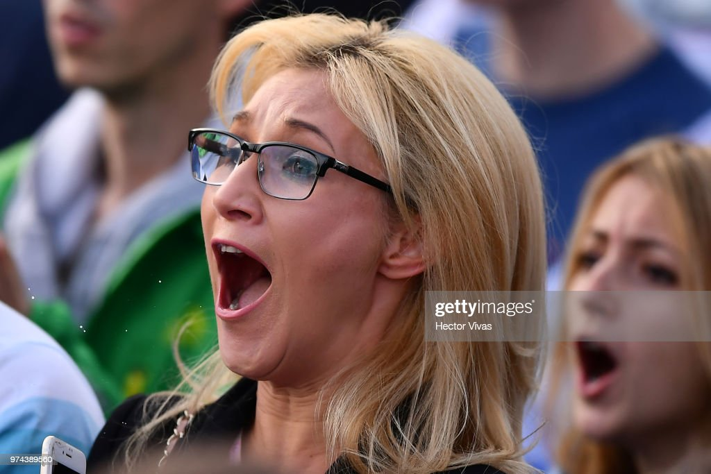 Fan of Russia celebrates after the second goal of his team during the 2018 FIFA World Cup Russia group A match between Russia and Saudi Arabia at FIFA Fans Fest Moscow on June 14, 2018 in Moscow, Russia.