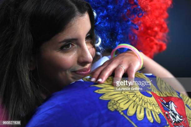 A fan of Russia looks dejected follwing his team's defeat in the 2018 FIFA World Cup Russia Quarter Final match between Russia and Croatia at Fisht...